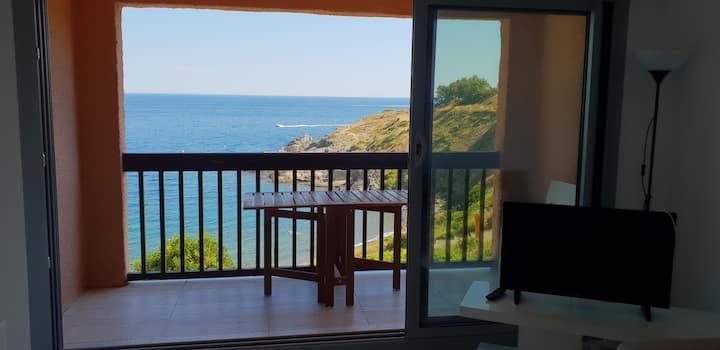 T2 neuf baie de collioure vue mer- sur la plage