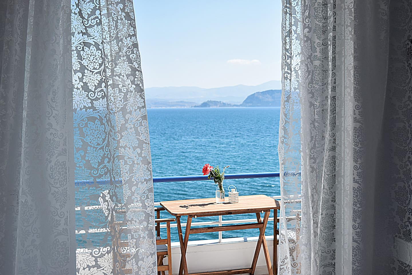 Sea View from  Balcony from Holiday  Studio Apartment, close to Nafplion, in Kiveri village