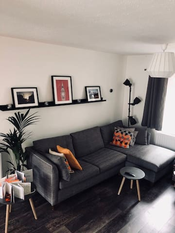 Spacious living area with pull out double sofa bed.