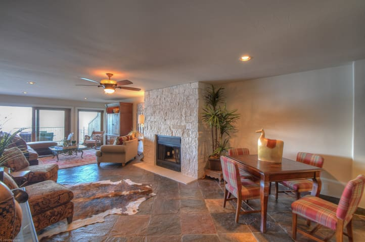 Stone Floors, Oriental Carpet and Wood Burning Fireplace ~ Hill Country Elegance