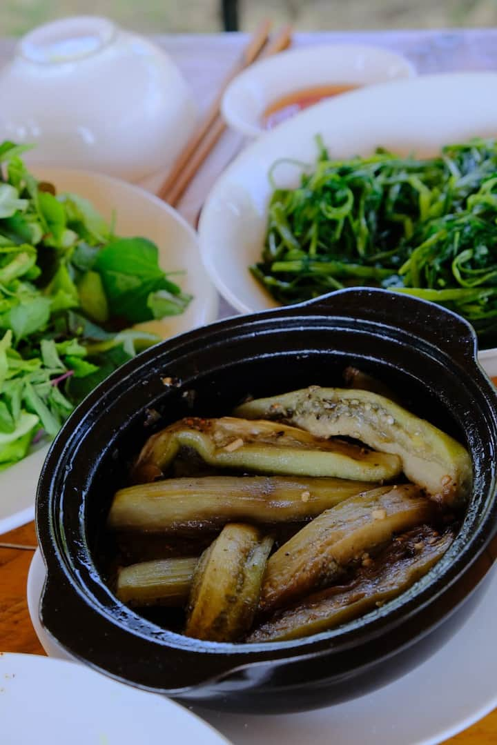 Eggplant in claypot