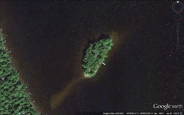 Rustic cabin on private island North Twin Lake, ME