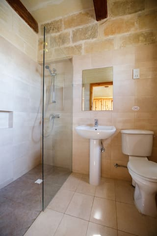 The ensuite walk-in shower