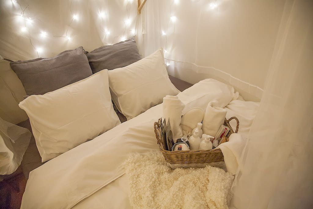 Bed with welcome basket