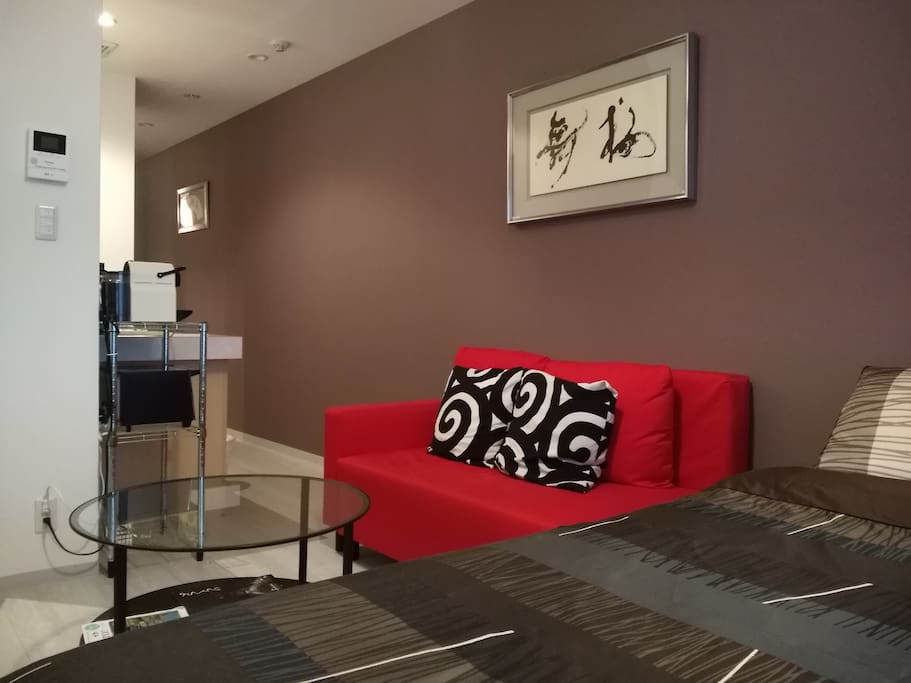 Sofa and coffee table for chilling in front of Netflix or the domestic TV