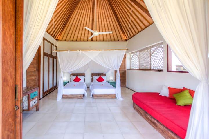 Ghanapati spacious villa room rice paddy view