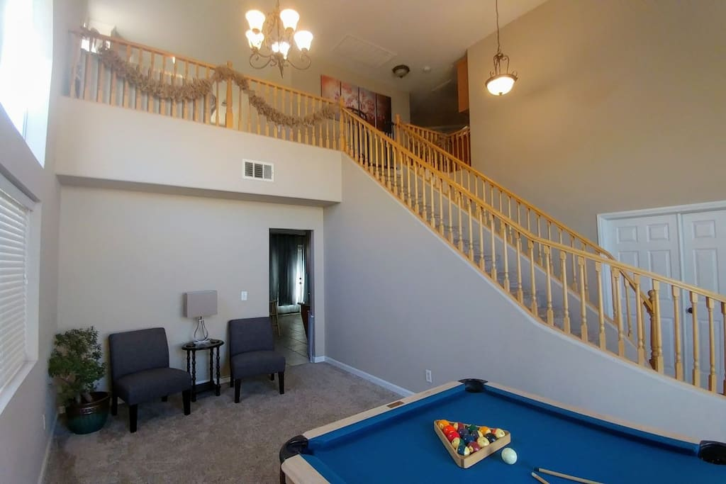 Play a little pool on your down time! This room can be sectioned off into a 5th sleeping space. King futon bed and 6-panel divider provided in this space when needed.
