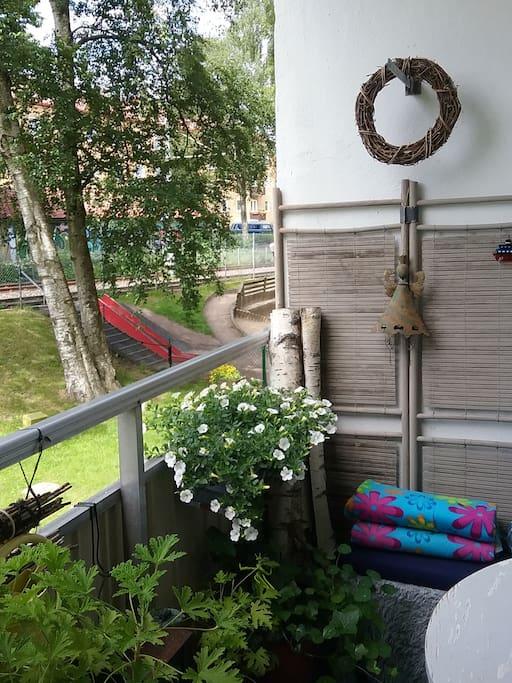 Mysig balkong i väster