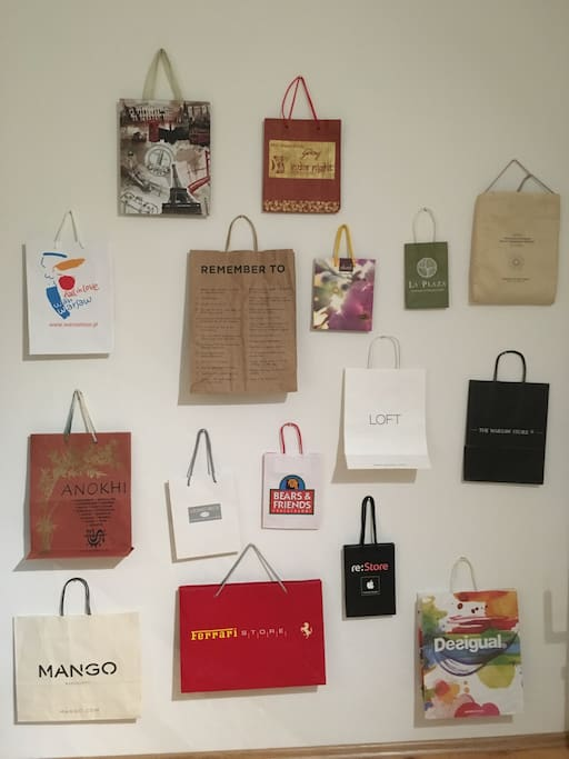 Guest room decoration: Wall of Paper Bags - you can add one?