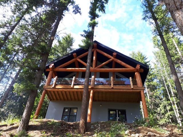 Authentic log home overlooking Shuswap lake.