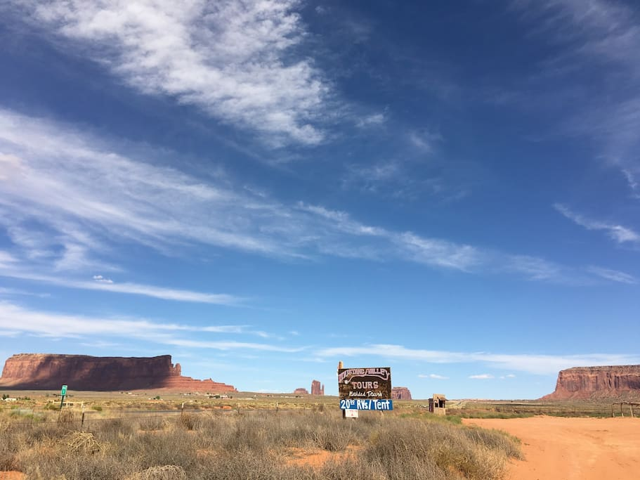 Mustang Valley Campground is the oldest historic campsite in monument valley owned by Dorothy Bigman.  You can park and pay 20$ if you bring your own tent.  We are right on the border on the Arizona stateline.