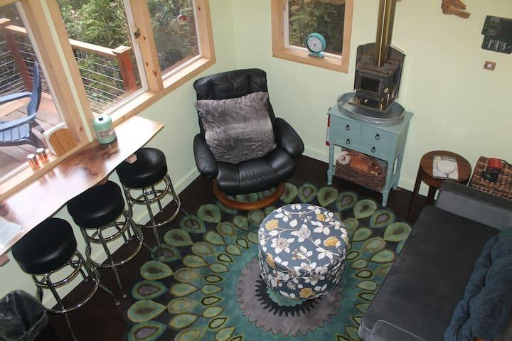 sleeper sofa, wood stove and comfy chair