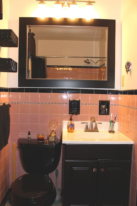 Bright and happy pink bathroom with black accents with plenty of room for your things!
