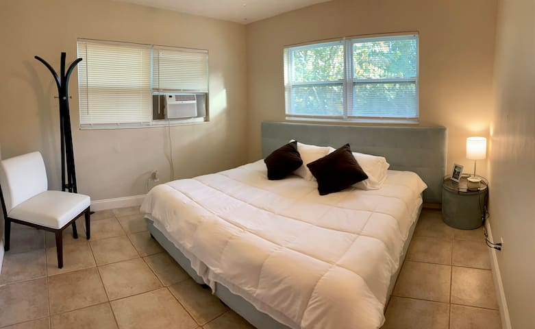 Second Bedroom with two twin beds that can be joined to make a large king size bed (as shown in the picture).
