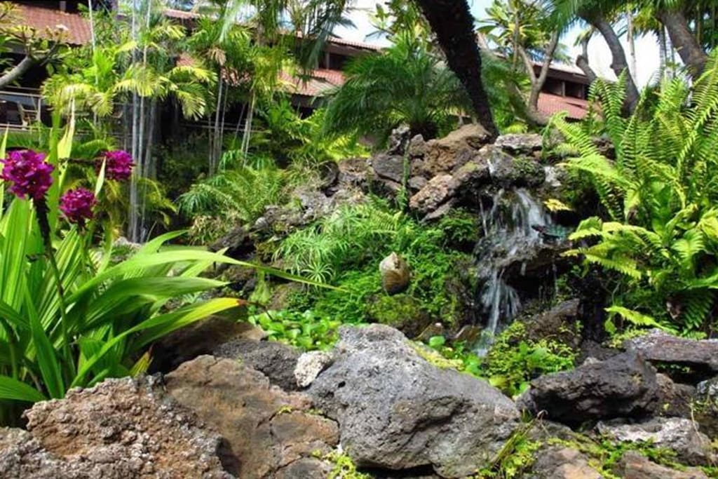 The grounds are beautifully landscaped, with lush plantings and a calming water feature.