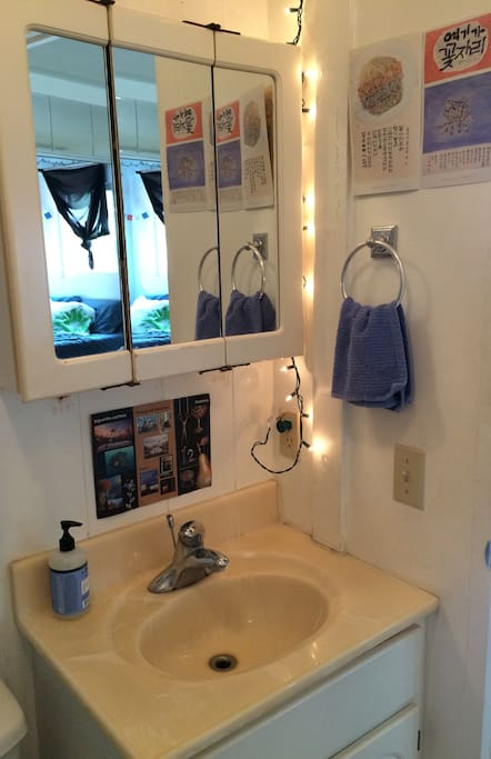 Clean and bright bathroom.
