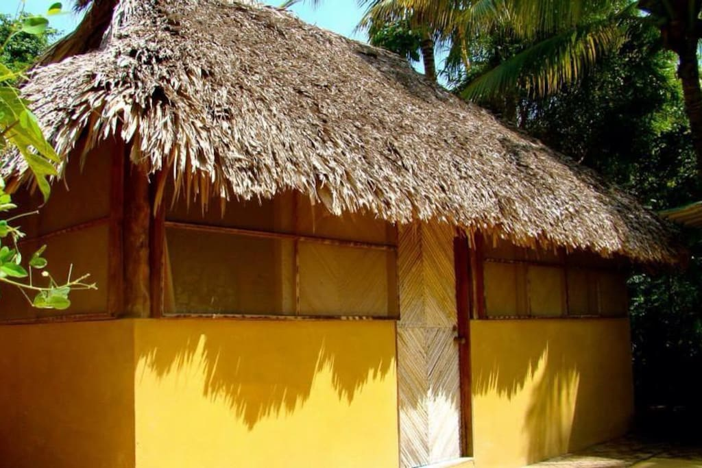 The dorm-style cabaña from the outside.