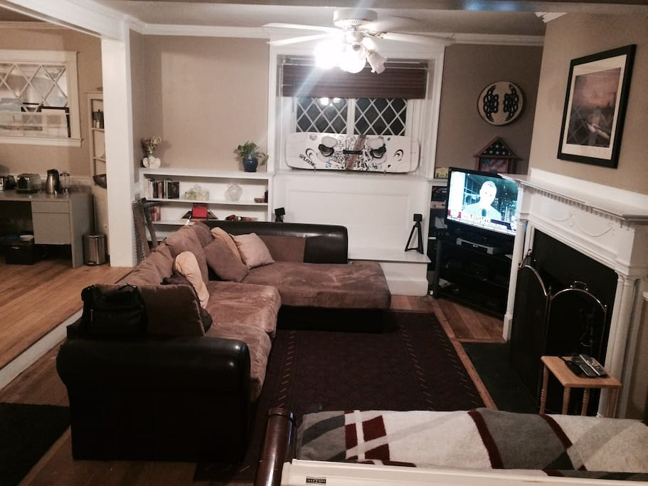 Large Sleepable L-shaped Couch - fireplace, HD TV, etc.