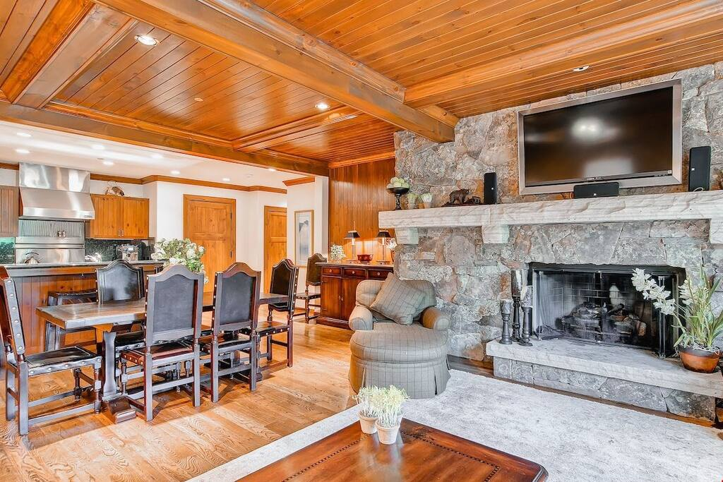 Kick back your feet and relax in the cozy living area and warm up in front of the fantastic stone fireplace.
