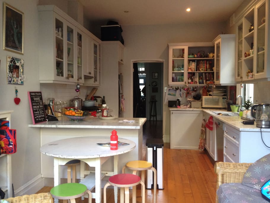 Large eat in kitchen with small seating area with internet TV