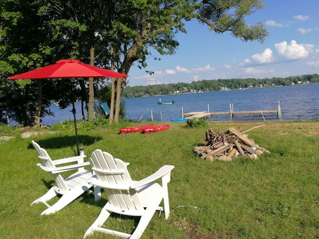 New break wall, fire pit, docks and various watercraft (paddle boat, sailboats and kayaks) for guests. Powerboats can be rented at the local Marina. Dockage and a small launch ramp available on site at Silverlaken.