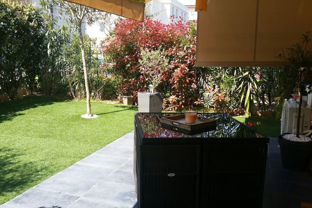 terrasse et jardin de 100m2