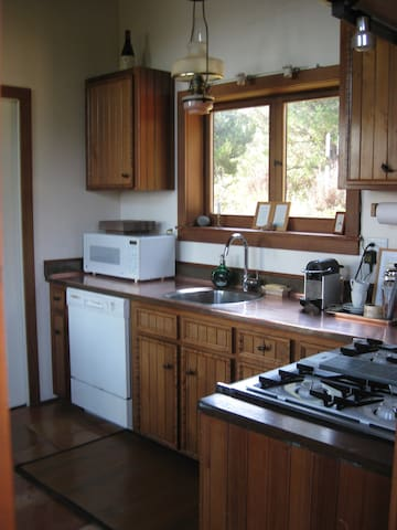 Kitchen with Copper Countertops, Nespresso Machine, JennAir Gas Stove, Microwave, Quality Pans