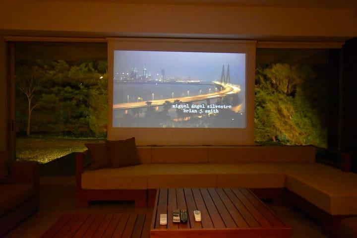 "Home cinema with 120"" screen"