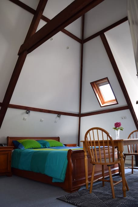 High ceiling: It is a renovated authentic attic