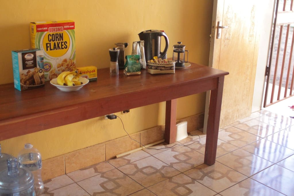 Self service breakfast of cereals & eggs. Fully stocked filter coffee & tea
