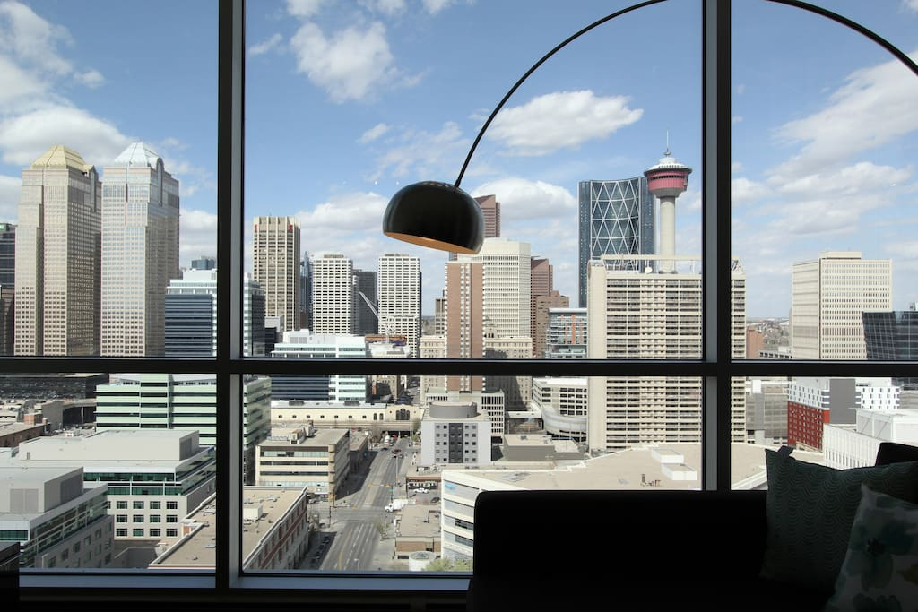 Excellent views of downtown from living area