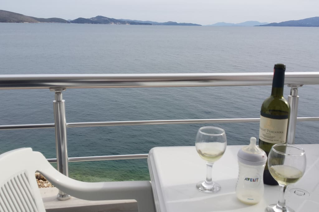 Terrace table and view on Ksamil penisula