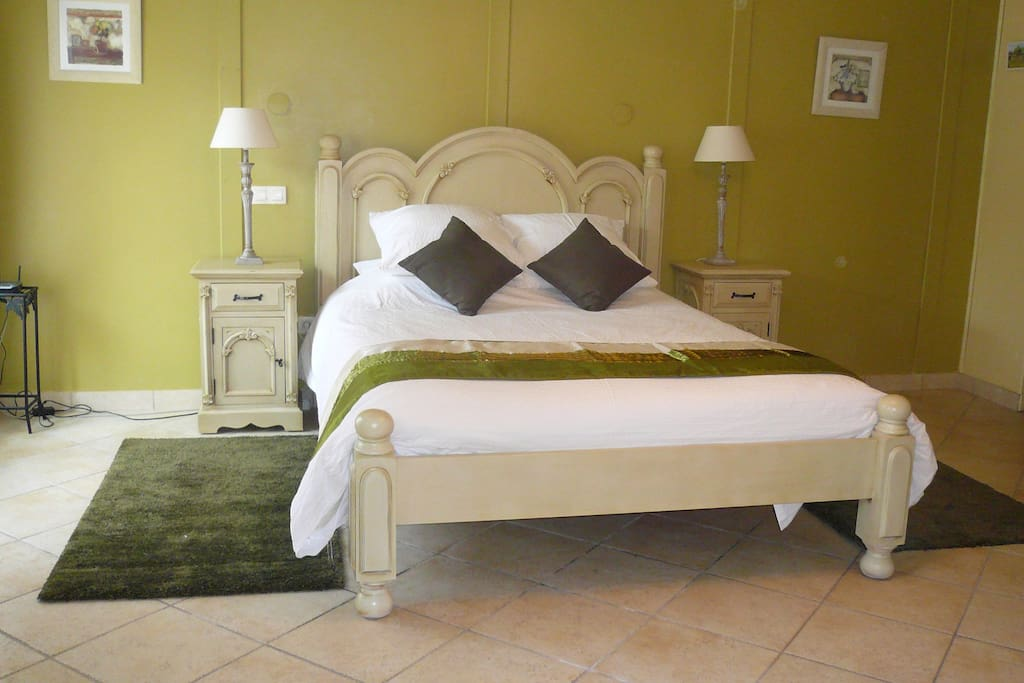 Ground floor bedroom with king-size bed (UK) ensuite shower suitable  for restricted mobility, WC