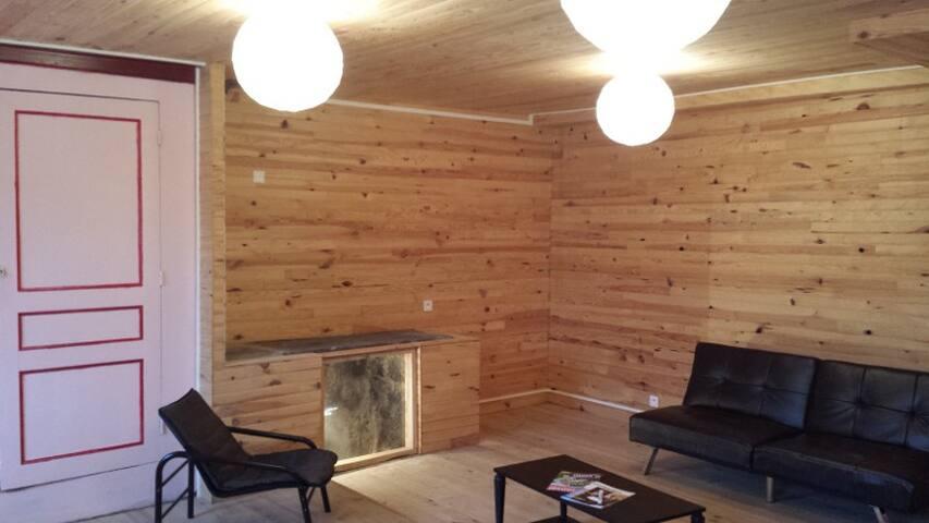 Salon connecté, wifi, télé, source naturelle, bibliothèque, fauteuils et canapés.