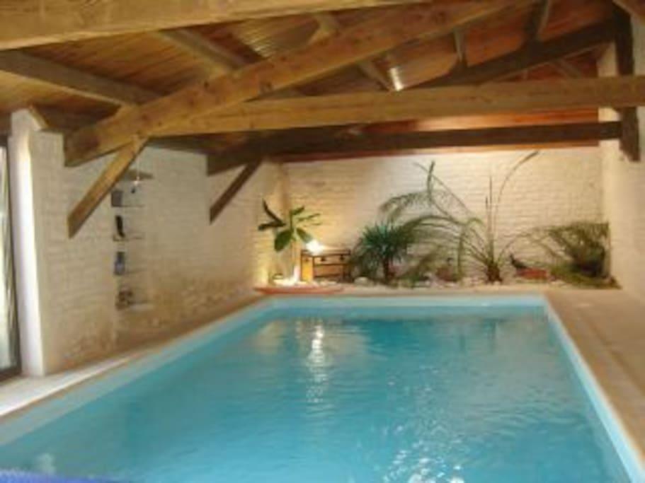 Espace commun bien-être piscine intérieure chauffée, sauna infrarouge, situé dans un autre bâtiment. Chauffée de mars à novembre.
