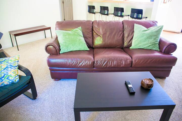 New cozy couch with full size pull out bed for extra sleeping quarters. Snuggle in and choose from hundreds of TV, Netflix and On-demand entertainment options.