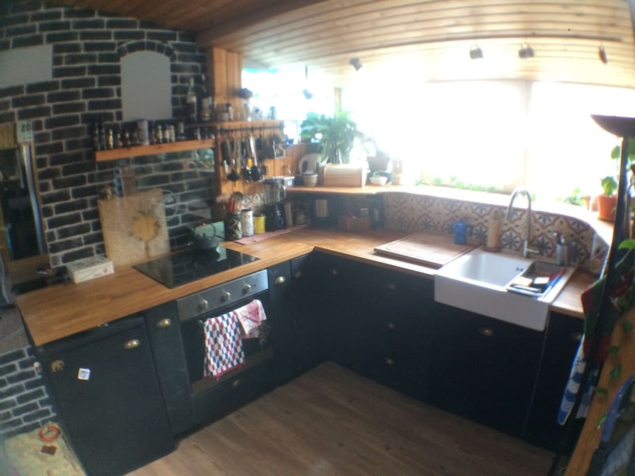 The Kitchen equipped for a party of 10 :)