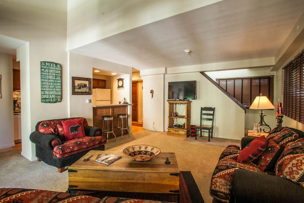 Mountain style living room featuring 42 inch flat screen TV with DVD player.