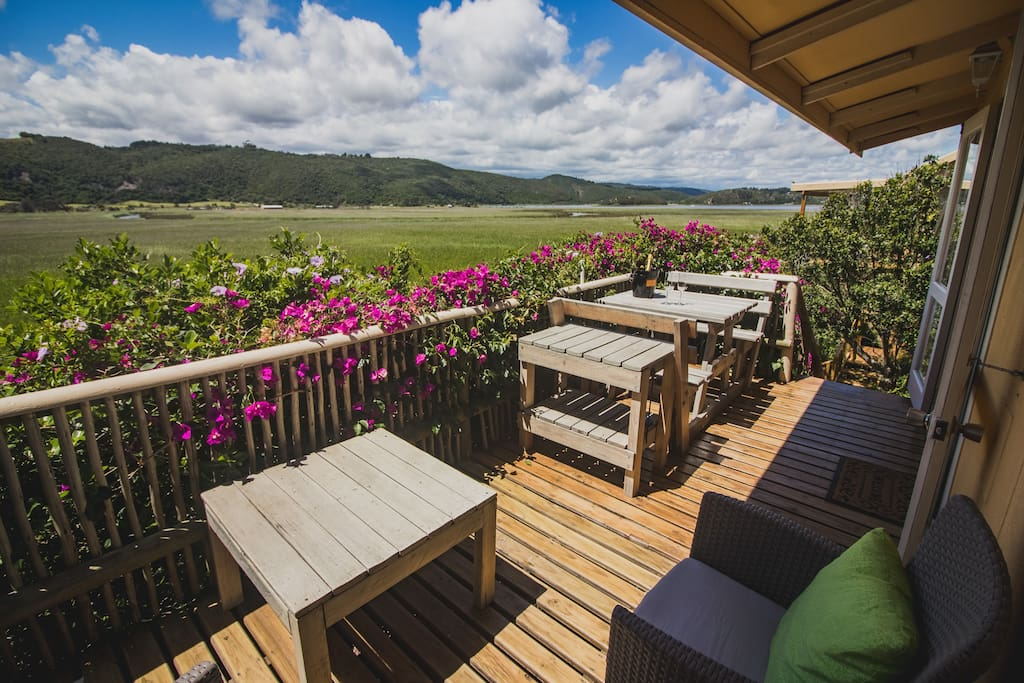 Deck and view from Sunbird cottage