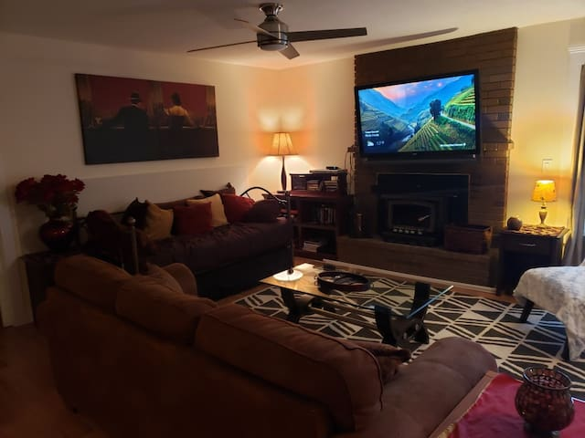 Living Area, fireplace, large screen TV, VCR, Day bed with trundle
