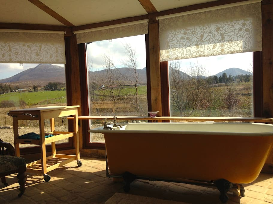 Main bathroom, with views from the bath over Derryveagh mountains