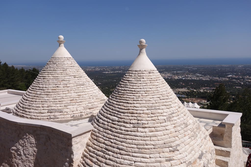 The trullo cones and spectacular  panoramic sea view