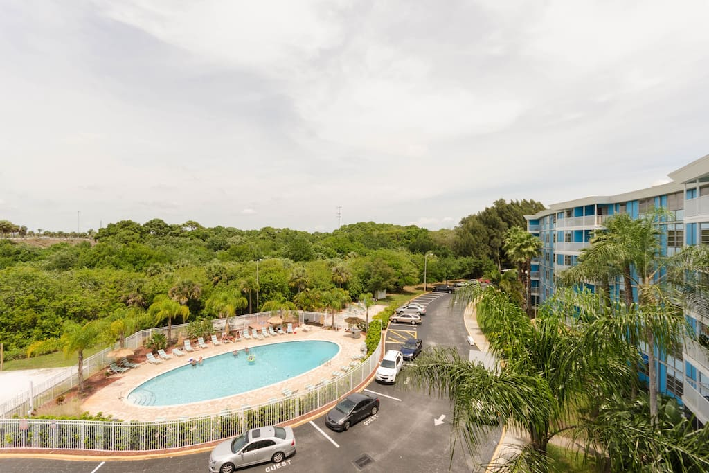 Panoramic view with pool and all its outdoor amenities with woods surrounding the complex