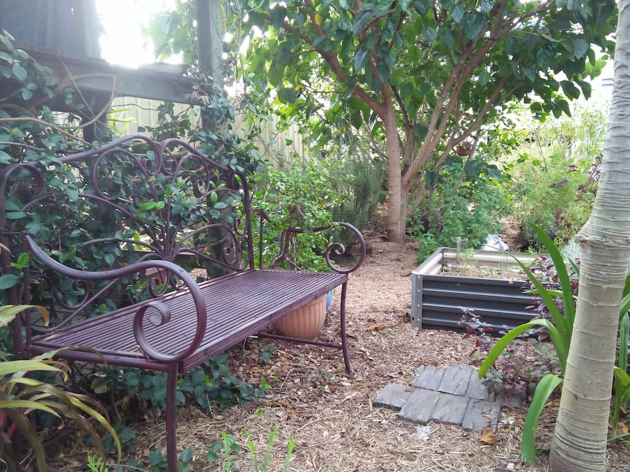 One of the several seating nooks in the garden