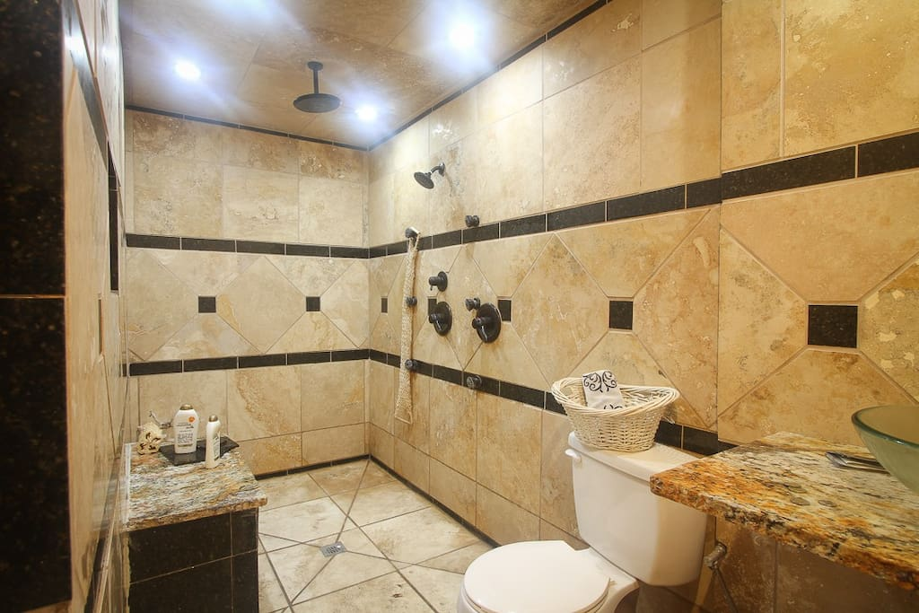 European Style Italian Travertine shower