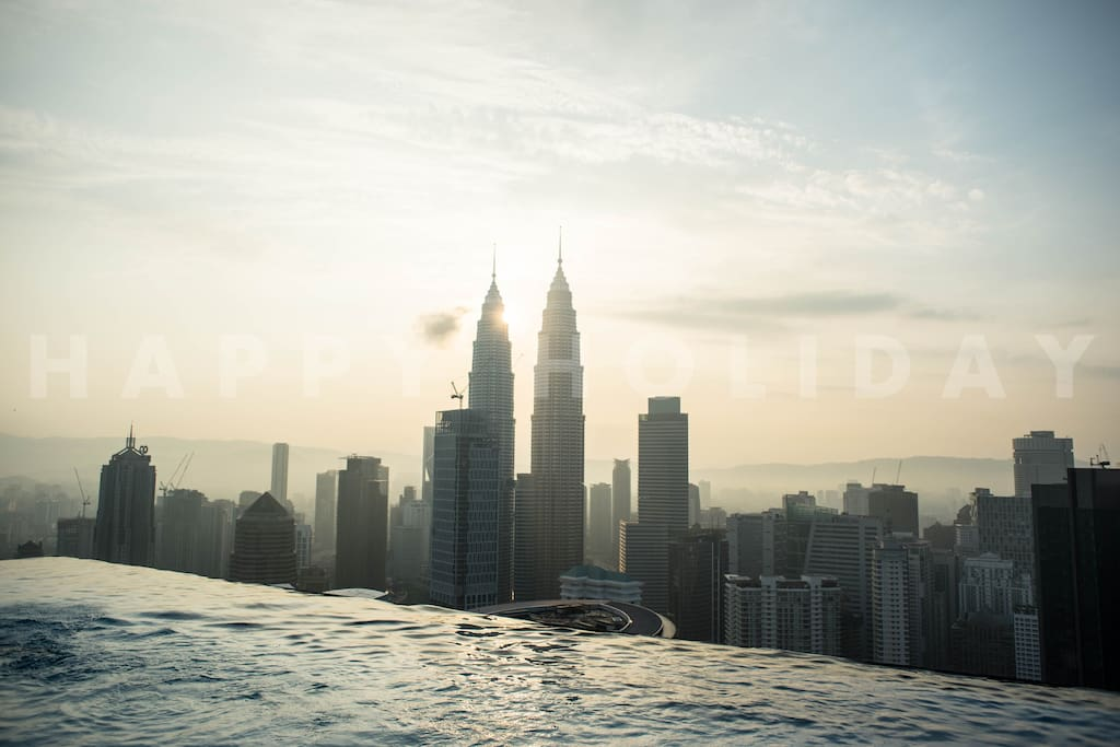 HIGHLIGHT: View of KL city skyline (KLCC) from infinity sky pool