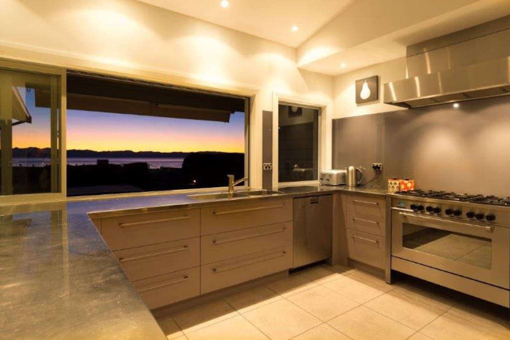 Large Stainless Steel Kitchen with 2 Ovens-- Panoramic Ocean views
