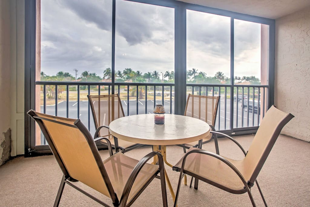 Enjoy your meals on the private balcony or unwind for the night with a glass of wine at the patio table set for 4.