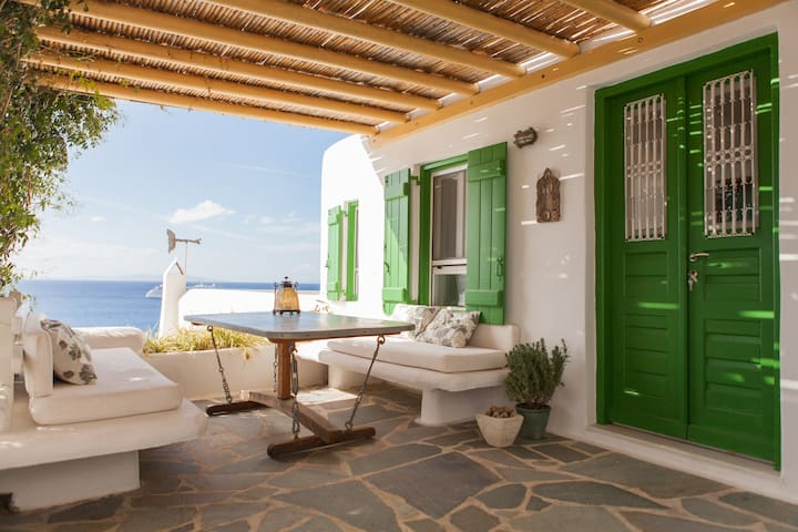 Traditional mykonian house with stunning sea view