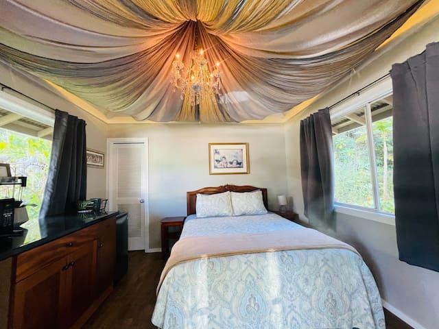 Elegant studio bedroom with queen size bed